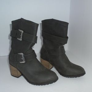 Diba Mid-Calf Charcoal Boots with Buckles